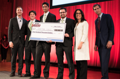 (From left) MIT $100K co-director Marc Chalifoux; RaptorMaps team members Eddie Obropta, Nikhil Vadhavkar, and Forrest Meyen; event host Krisztina Holly; and MIT $100K co-director Jacob Auchincloss. Image Courtesy of the MIT $100K
