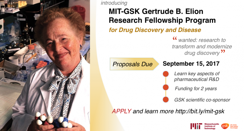 Call for Applications: MIT-GSK Gertrude B. Elion Research Fellowship Program for Drug Discovery and Disease