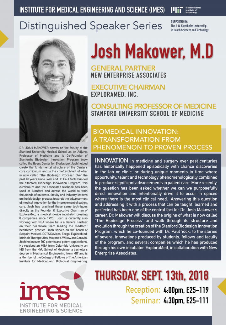 IMES Distinguished Speaker Series - 9/13/2018 - Josh Makower